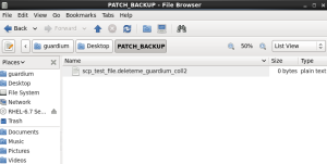 Temporary file on patch backup storage